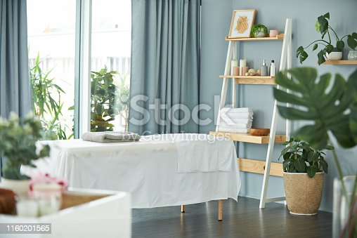 Shot of a tranquil massage room with plant life and a massage bed during the day