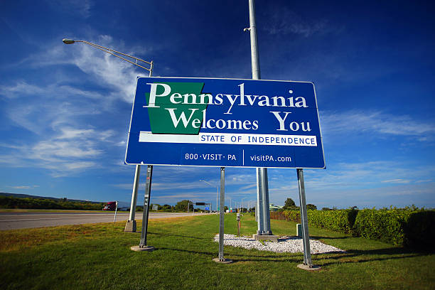 Welcome to Pennsylvania sign stock photo