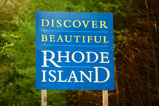 Welcome to Rhode Island sign stock photo