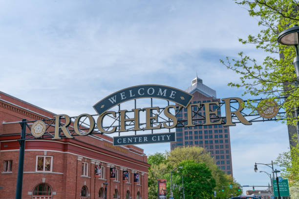welcome to rochester sign - rochester ny skyline stock photos and pictures