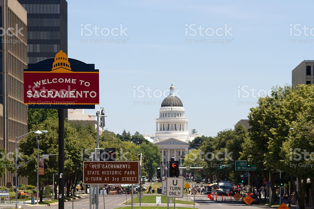 Welcome To Sacramento stock photo