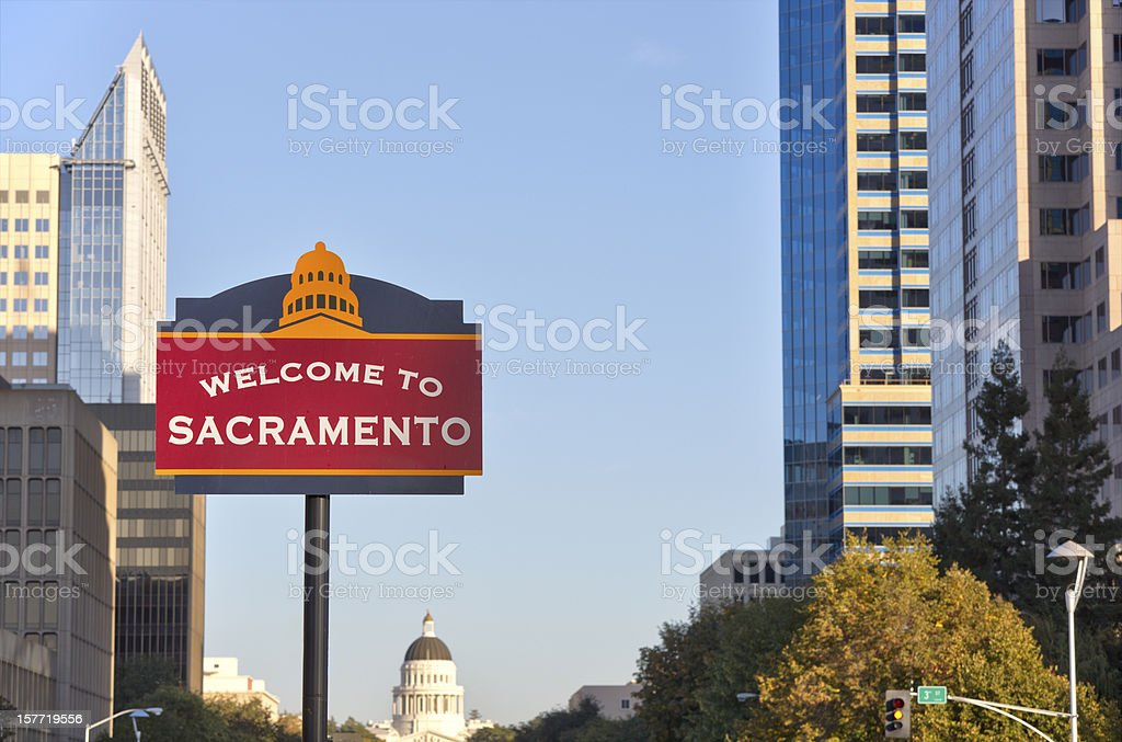Welcome to Sacramento sign stock photo