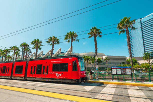 Welcome to San Diego. Green Line of San Diego Trolley, Convention Center Station stock photo