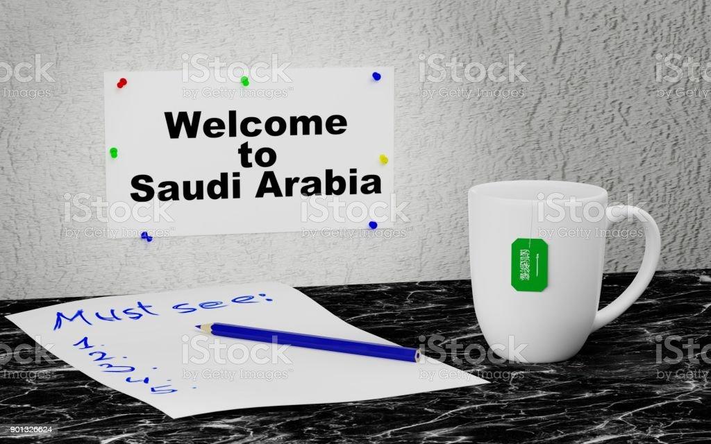 Welcome to Saudi Arabia stock photo