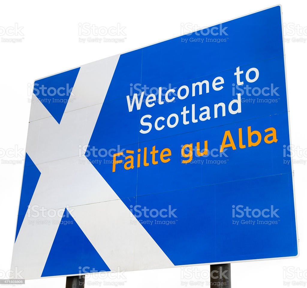 Welcome to Scotland Sign stock photo