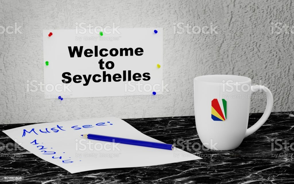 Welcome to Seychelles stock photo