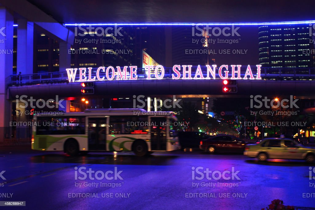 welcome to shanghai sign at china royalty-free stock photo