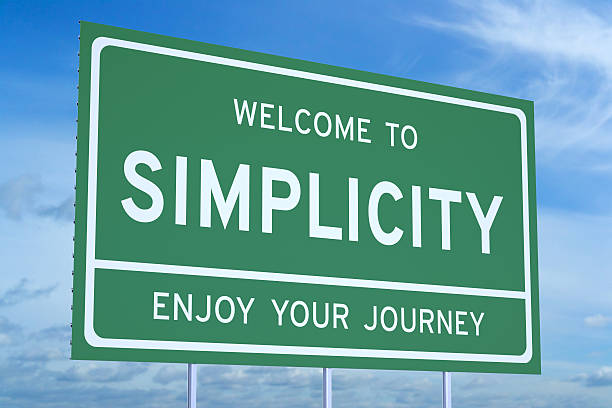 Welcome to Simplicity concept Welcome to Simplicity concept on road billboard smooth stock pictures, royalty-free photos & images