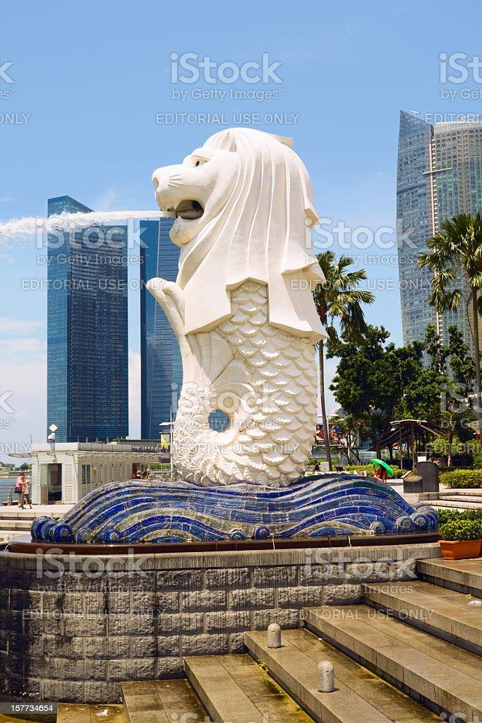 Welcome to Singapore: spouting Merlion stock photo