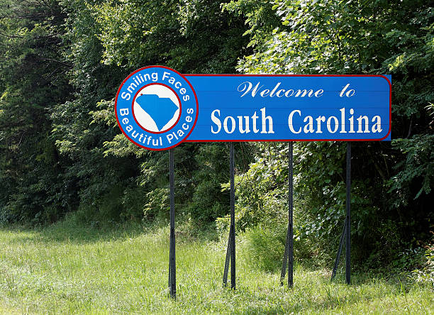 Welcome to South Carolina A welcome sign at the South Carolina state line. spartanburg stock pictures, royalty-free photos & images
