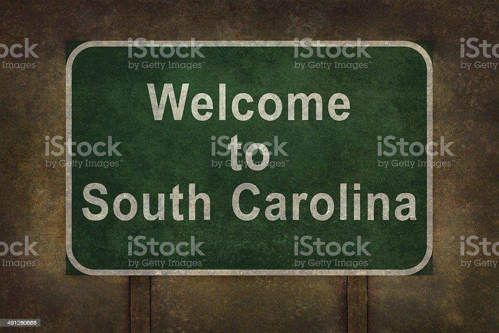 Welcome to South Carolina roadside sign illustration stock photo