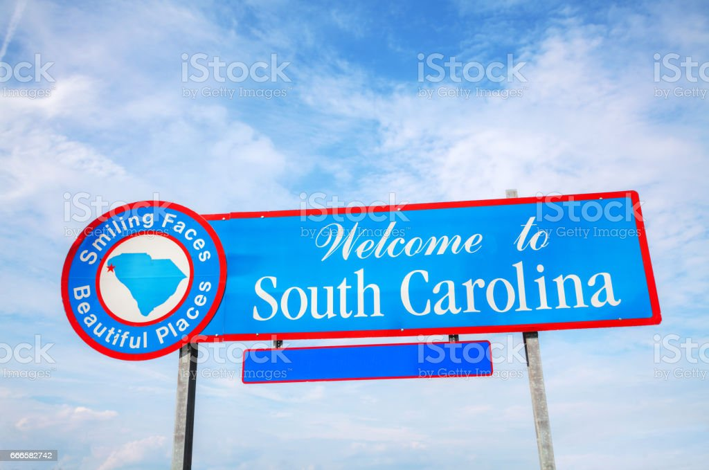 Welcome to South Carolina sign stock photo