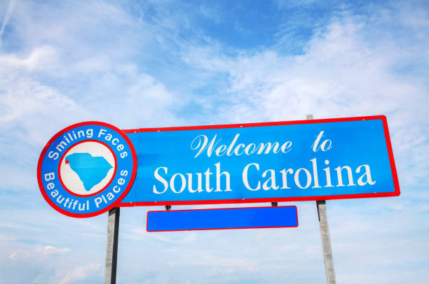 welcome to south carolina sign - place sign stock pictures, royalty-free photos & images