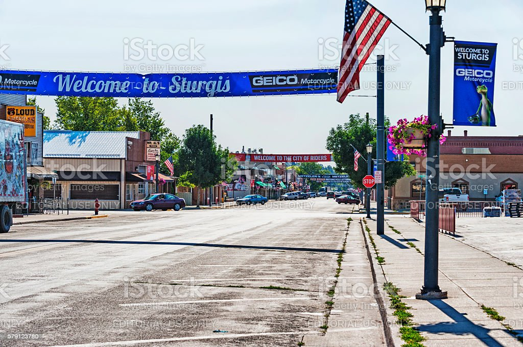 Welcome to Sturgis city of Riders stock photo