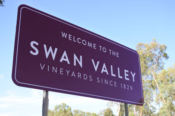 Welcome to Swan Valley Road SIgn in Perth Western Australia stock photo