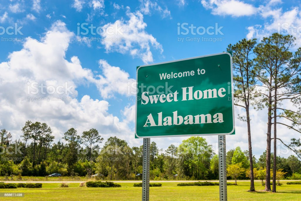 Welcome to Sweet Home Alabama Road Sign in Alabama USA stock photo