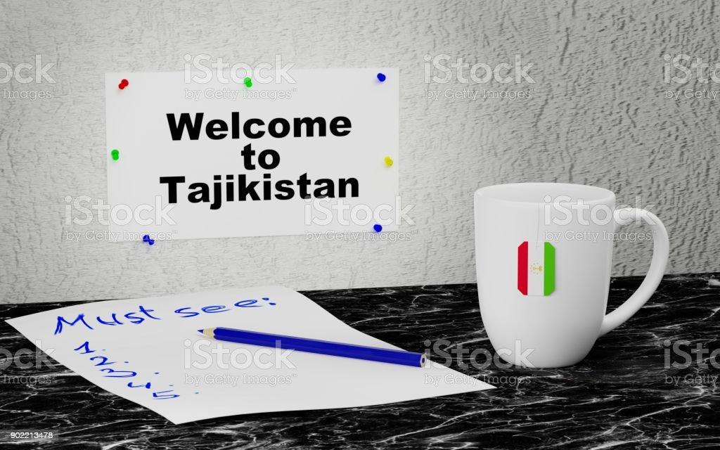 Welcome to Tajikistan stock photo