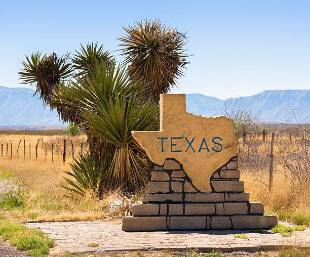 Welcome to Texas road sign, yucca cactus, plains, mountains stock photo