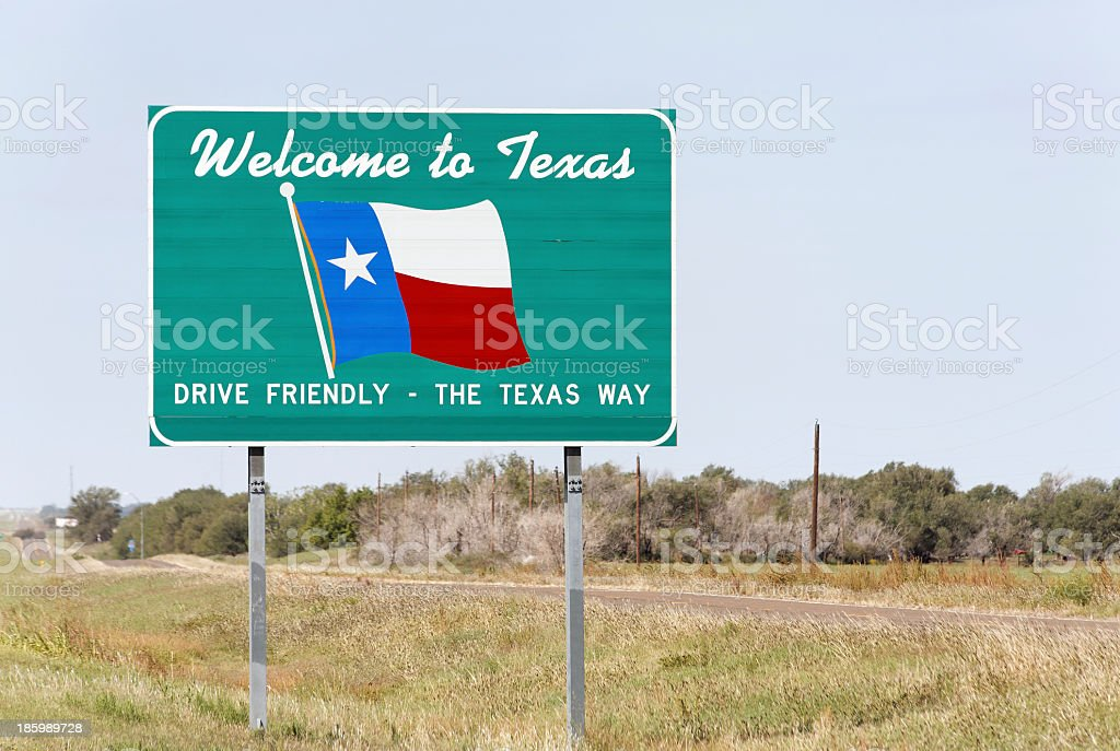 Welcome to Texas roadside sign stock photo