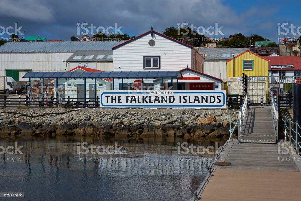 Herzlich willkommen im the Falkland Islands - Lizenzfrei Anlegestelle Stock-Foto