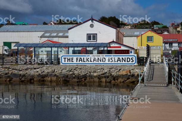 Herzlich Willkommen Im The Falkland Islands Stockfoto und mehr Bilder von Anlegestelle