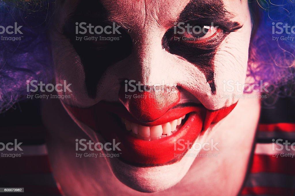 Welcome To The Fun House Creepy Clown stock photo