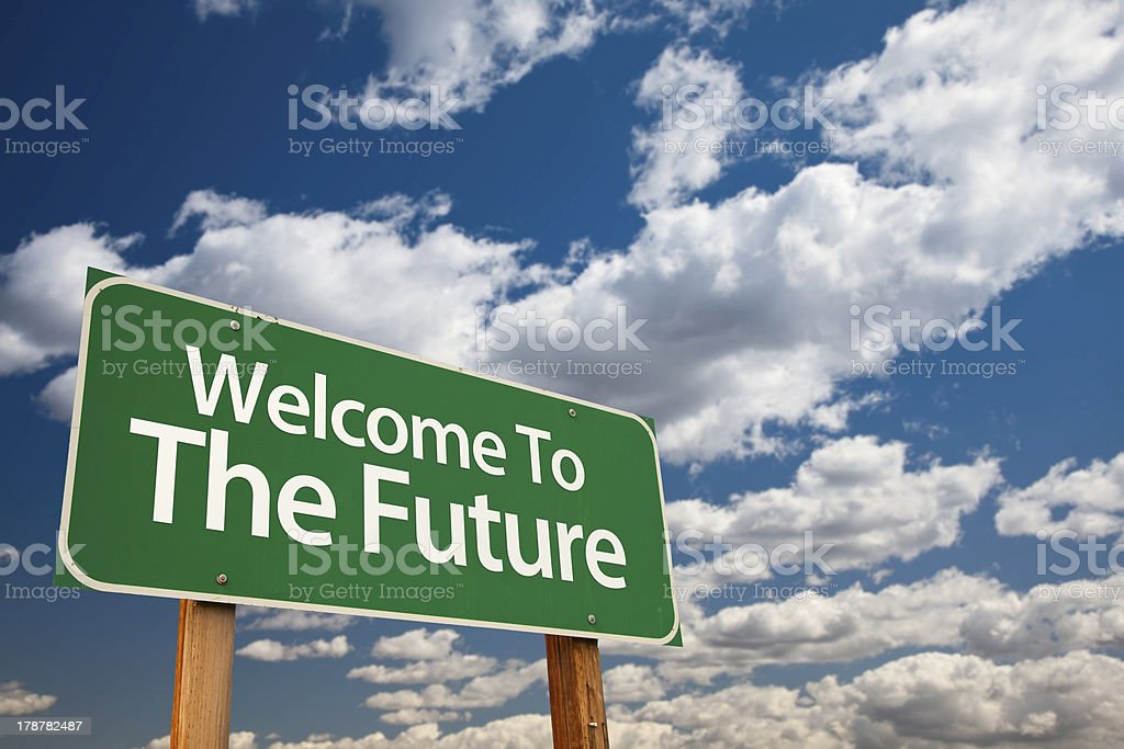 Welcome To The Future Green Road Sign stock photo