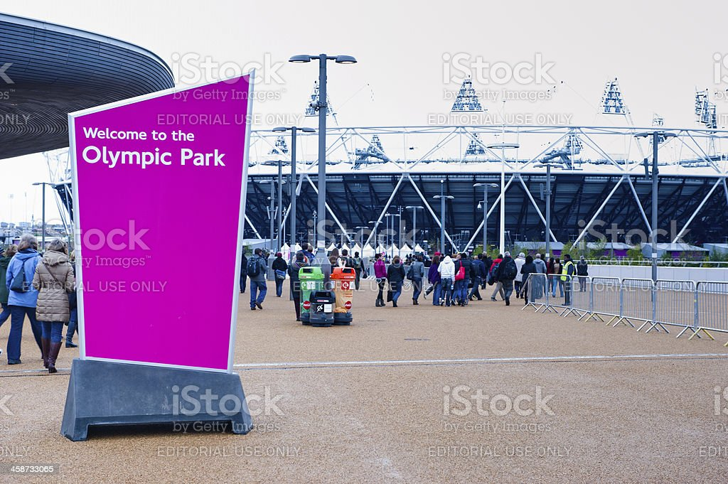 Welcome to the London 2012 Olympic park stock photo