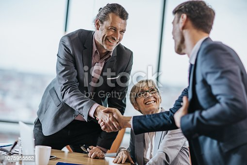 Happy businessmen shaking hands during a meeting with their female colleague in the office.