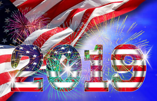 herzlich willkommen sie in das neue jahr 2019 in amerika - sprüche kalender stock-fotos und bilder