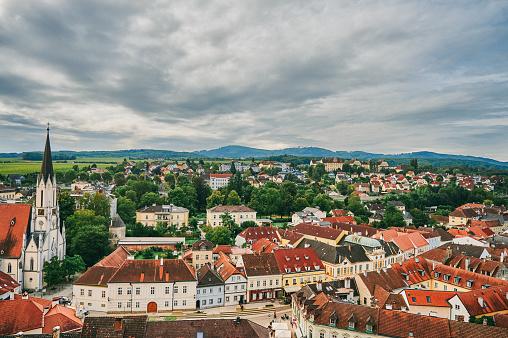 Shot of the town of Melk in Austria