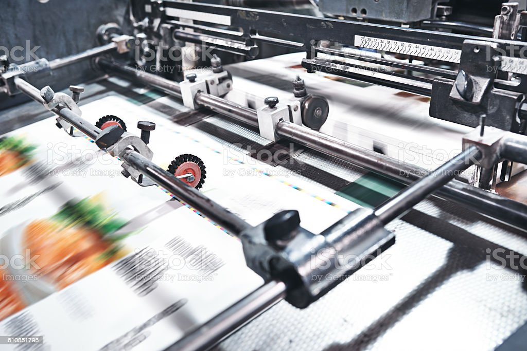 Welcome to today's industrial printing world stock photo