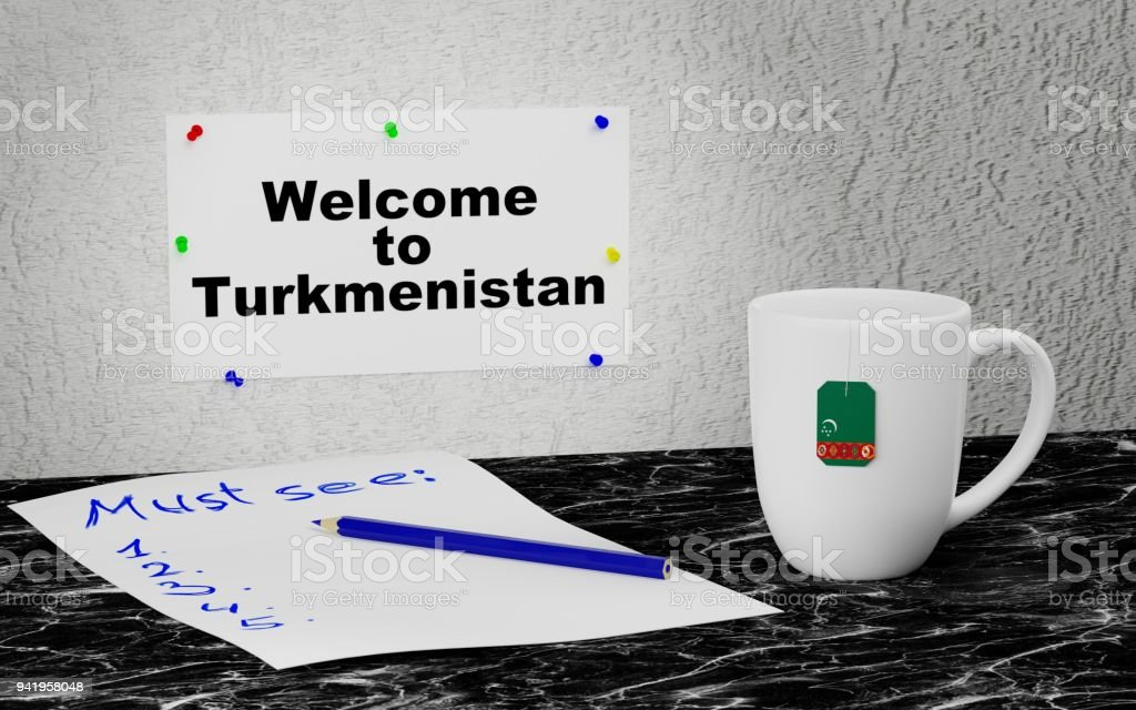 Welcome to Turkmenistan stock photo
