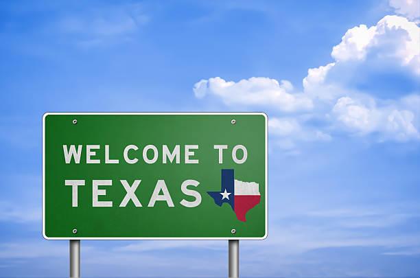 willkommen im us-bundesstaat texas-schild - houston texas stock-fotos und bilder