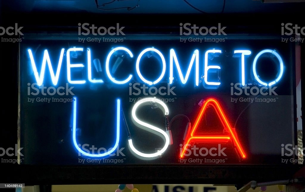 Welcome to USA neon sign royalty-free stock photo
