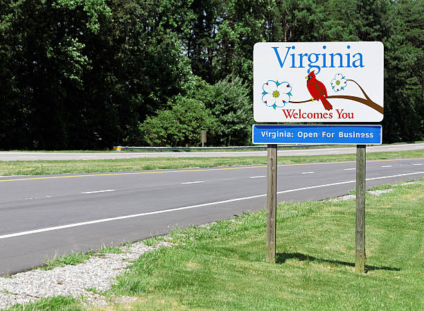Welcome to Virginia A welcome sign at the Virginia state line. charlottesville stock pictures, royalty-free photos & images