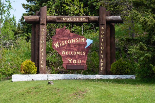 welcome to wisconsin - place sign stock pictures, royalty-free photos & images