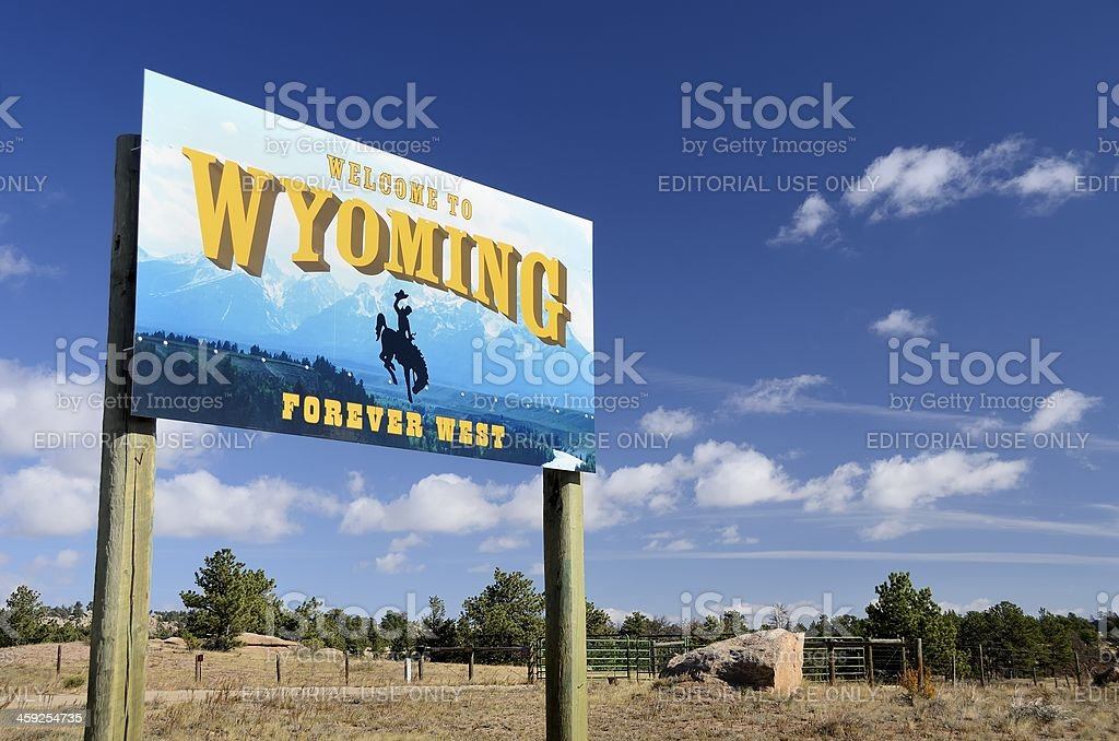 Welcome to Wyoming Sign on Colorado Border royalty-free stock photo