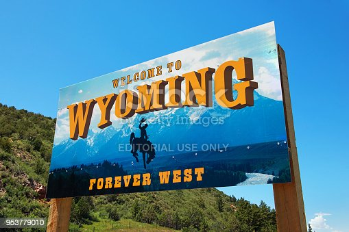 07/13/2015 - Newcastle, Wyoming, USA: Welcome to Wyoming sign with text