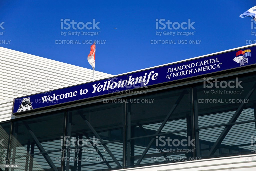 'Welcome to Yellowknife' Sign stock photo
