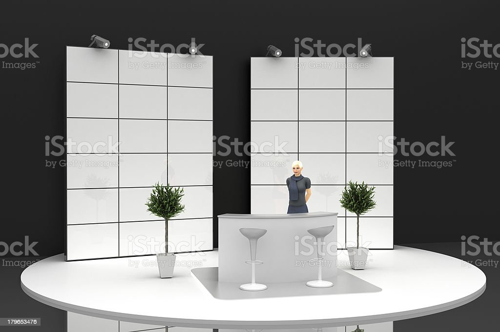Welcome to your copy space kiosk stock photo