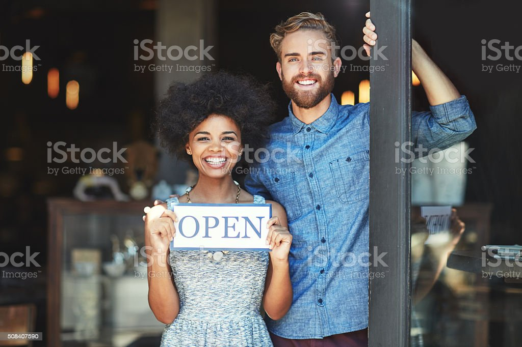 Welcome, we're open for business stock photo