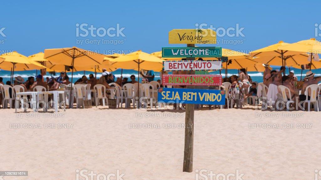Welcome Wooden Sign On Gunga Beach In English Italian