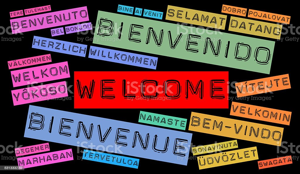Welcome word cloud in different languages stock photo