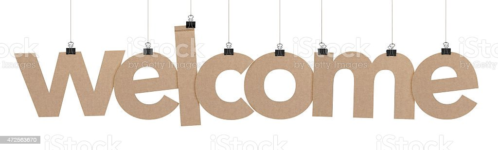 welcome word hanging on strings stock photo