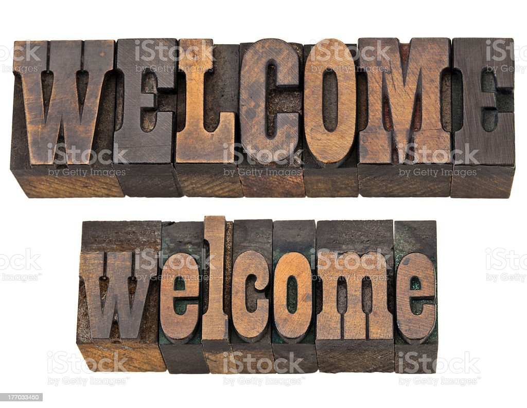 welcome word in letterpress type royalty-free stock photo