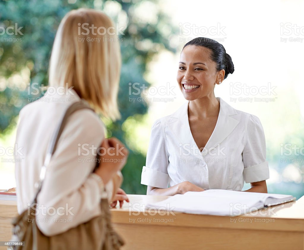 Welcome...we look forward to pampering you! stock photo