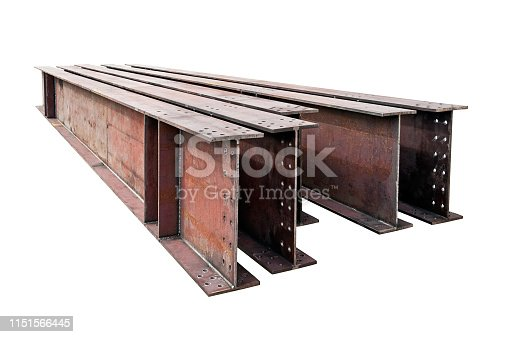 welded metal beams isolated on white background stock photography