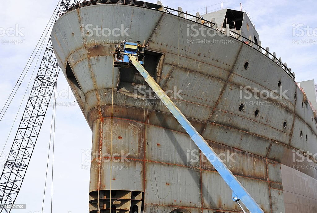 Welder at shipyard royalty-free stock photo