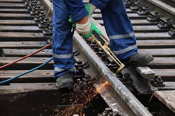welder at work - rail stock photos and pictures